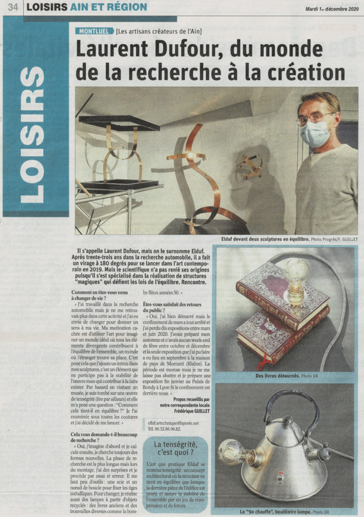 Article Elduf _ Le Progrès 01 12 2020